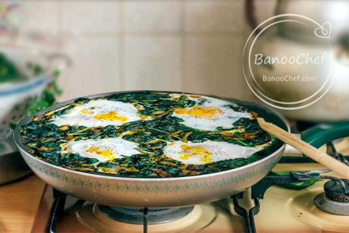 خوراک اسفناج و تخم مرغ